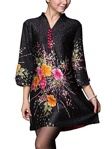Bitablue Womens Bubble Crinkle Fabric Long Blouse with Colorful Flower Patterns - Small Black