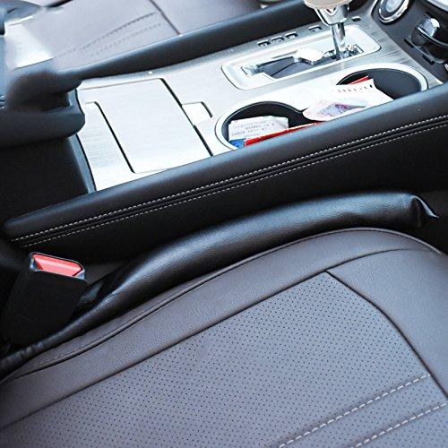 Iokone Car Seat Gap Leakproof Filler Pad 2Pack PU Leather Universal Vehicle Blocker Soft Pad (black)
