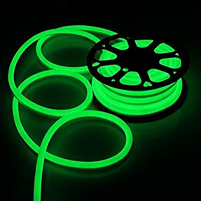 DELight 50 FT 110V Green Illuminated Flexible LED Neon Rope Light w/ PVC Waterproof Tube Covers for Decor Lighting Indoor Outdoor Holiday Valentines Parties