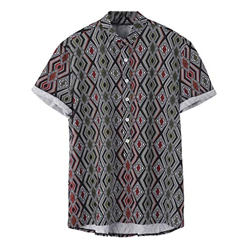 Blouse for Men Vintage Ethnic Printed Stand Collar Colorful Stripe Short Sleeve Loose Shirt