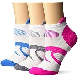ASICS Women's Intensity Single Tab Running Socks (3 Pack), White, Medium
