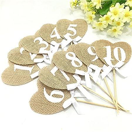 Número de corazón de arpillera - 10 piezas de arpillera corazones ...