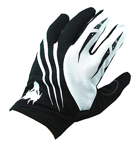NEW Motorcycle Motocross MX ATV Dirt Bike Racing Textile Gloves Black White, Size X-Large