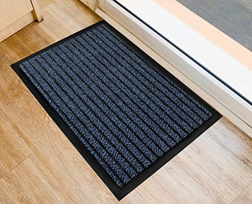 Ultralux Indoor Scraper Door Mat 31 x 47 Durable Anti-Slip Vinyl Backed Indoor Doormat with Polypropylene Fibers Low Profile Dirt Trapper Entry Rug for Inside Blue Welcome Mat