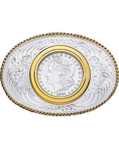 Montana Silversmiths Men's Coin Holder Silver Dollar Western Belt Buckle Multi One (Silver Dollar Buckle)