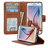 Samsung Galaxy S6 Wallet Folio Leather Life Protective Case with Four Card Pockets & Money Slot, Removable Strap - Navor (Brown)