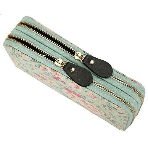 Frauen Geldbörse Blumen Elegant Fashion Portemonnaie Lang Reißverschluss Vintage mit Abnehmbare Handschlaufe und Münzfach Geldtasche (Blau) Grün