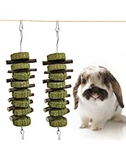 Rabbit Toys, Arespark Bunny Chew Toys,Rabbit Chew Toys for Teeth, Small Animals Biting Teeth Toy, Bunny Chew Toys with7 Apple Branches and 8 Straw Cakes for Rabbit/Guinea Pig/Squirrel/Hamster