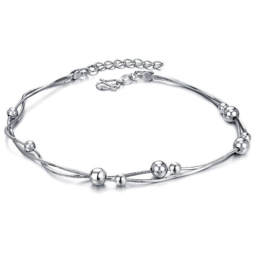 Silver Tone Double Layer Snake Chain Beads Anklet Bracelet Women Girls Barefoot Sandal Beach Jewelry Length Adjustable