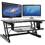 Height Adjustable Standing Desk & Stand Up Desk - Sit Stand Desks Converter Improve Productivity & Health with Standing Workstation - Best Standup Desk Riser & Work Desk for Laptops - Stops Back Pain