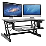 Height Adjustable Standing Desk & Stand Up Desk - Sit Stand Desks Converter Improve Productivity & Health with Standing Workstation - Best Standup Desk Riser & Work Desk for Laptops - Stops Back Pain