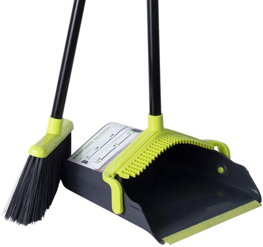 Dust Pan Sweep Set Broom Dustpan Cleans Broom Combo with Long Handle for Home Kitchen Room Office Lobby Upright Stand up Dustpan Broom Set