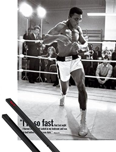 1art1 Poster + Hanger: Muhammad Ali Mini Poster (20x16 inches) Training, I Am So Fast and 1 Set of Black Poster Hangers