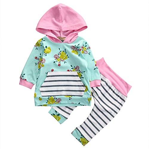 Askwind Happy GoGo Baby Girls Floral Hoodie+ Floral Pant Set Leggings 2 Piece Outfits (6-12M, Green) ()