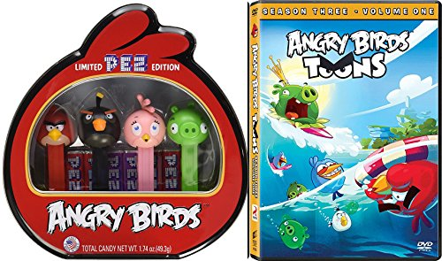 Angry Birds Toons Season Three Animated DVD Set Cartoon + Bonus Pez Collectible Tin candy Dispenser 4 character birds & Pigs (Pictures Of Pez Dispensers)