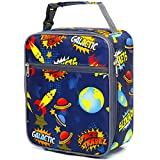 Kids Lunch box Insulated Soft Bag Mini Cooler Back to School Thermal Meal Tote Kit for Girls, Boys by FlowFly,Space