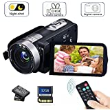 Camcorder Digital Camera with IR Night Vision HD Digital Video Camera 24.0Mega Pixels 18X Digital Zoom for Selfie Pause Function (Two Batteries Included) (Black)