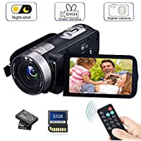 Camcorder Digital Camera with IR Night Vision HD Digital Video Camera 24.0Mega Pixels 16X Digital Zoom For Selfie Pause Function (Two Batteries included) (Black)