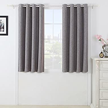Set of 2 Silver Grey Faux Linen Blackout Curtains for Bedroom, 52  Wide by 63  Long