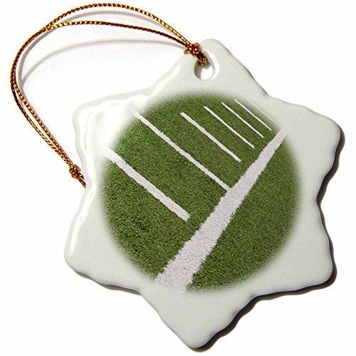 Henrik Lehnerer Designs - Sport - Football field with yard markers. - 3 inch Snowflake Porcelain Ornament (244407_1) -