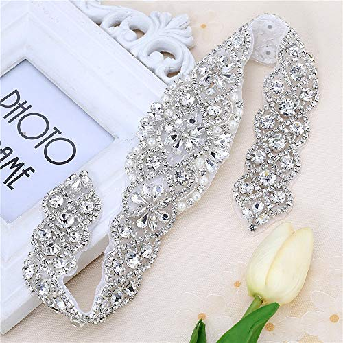 Silver Beaded Crystal Rhinestone applique for wedding Dress and Sash by Sewing or Ironing on-1 Piece(17.7