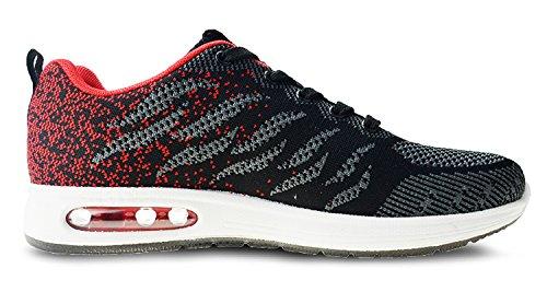 Uomo Interior Donna Casual Sportive Nero da Scarpe Sneakers Rosso Corsa all'Aperto Z Running tqgold Fitness Ginnastica UdvFxwdnP