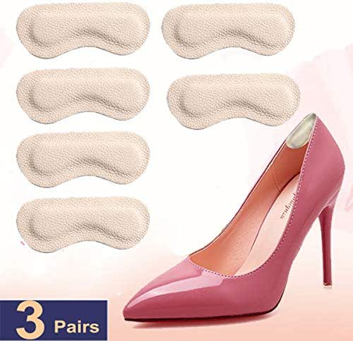 Heel Grips Heel Cushion Inserts Heel Pads Leather for Shoes Half Size Big 3pairs 0.14inch Thick Improved Shoe Fit and Comfort,Prevent Blisters Beige