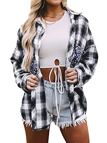 MYMORE Flannel Plaid Button Down Shirts for Women Batwing Long Sleeve Blouses Tops with Paisley Graphic Pocket