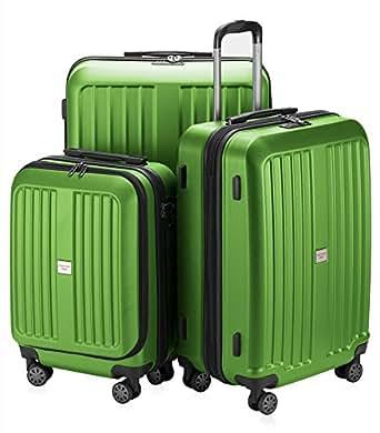 HAUPTSTADTKOFFER X-Berg - Set of 3 Hard-side Luggages matt Suitcase Hardside Spinner Trolley Expandable (20¡°, 24¡° & 28¡°) TSA Applegreen