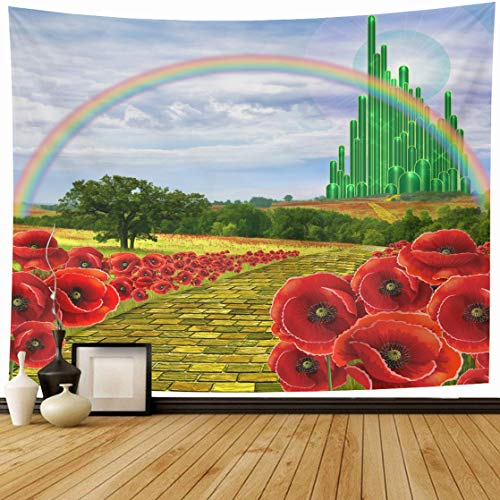Ahawoso Tapestry Wall Hanging 60x50 City Yellow Brick Road Leading Oz Emerald Field Flowers Poppies Follow Design Home Decor Tapestries Decorative Bedroom Living Room Dorm