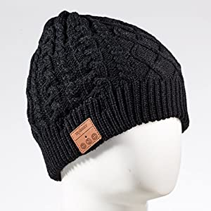 Tenergy Wireless Bluetooth Beanie Hat with Detachable Stereo Speakers & Microphone, Fleece-lined Unisex Music Beanie for Outdoor Sports, Braid Cable Knit (Black)