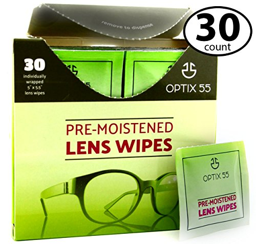 (Pre-Moistened Lens Cleaning Wipes - 30 Cloths - Safely Cleans Glasses, Sunglasses, Camera Lenses, and Electronic Quickly & Efficiently - Travel - by Optix 55)