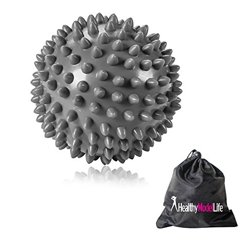 HEALTHYMODELLIFE Premium Grade Spiky Massage Ball by Healthy Model Life - Highly Recommended for Plantar Fasciitis - Silver