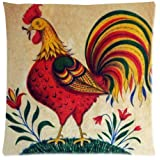 Rooster Throw Pillow Case Cushion Covers Square 18x18 Inch (one side)