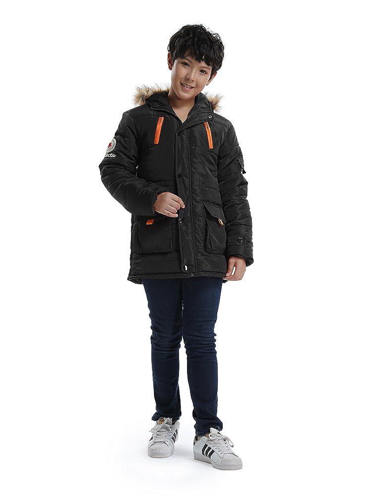Parka Coat with Faux Fur Trim OCHENTA Big Boys Winter Cotton Hooded Outwear