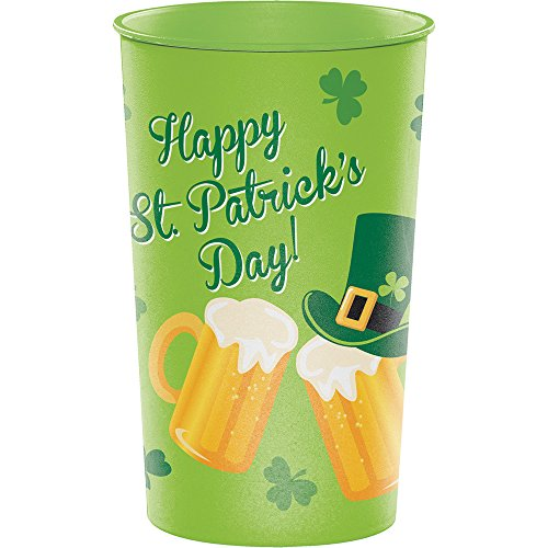 Creative Converting 014391 20 Count 32 oz Plastic Cups, St. Patrick's Day