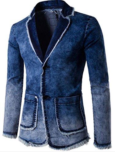 Top Fensajomon Mens Slim Fit Two Button Lapel Suit Blazer Jean Jacket free shipping