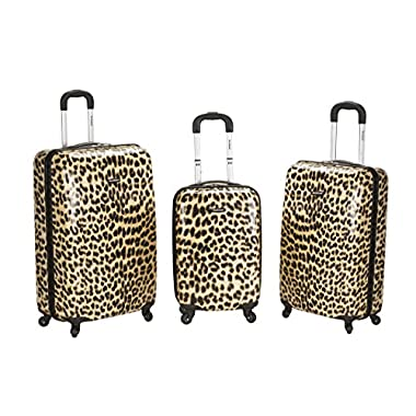 Rockland Luggage 3 Piece Upright Set, Leopard, Medium