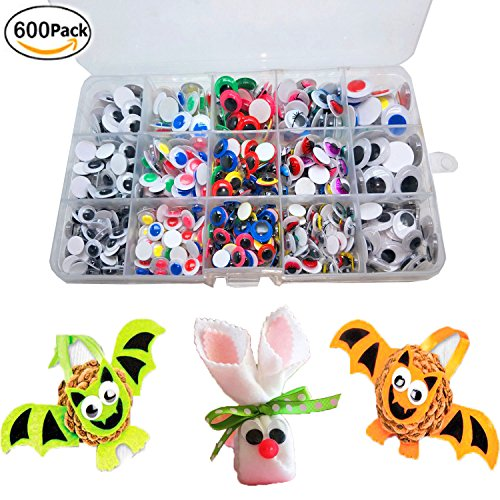 600Pcs Wiggle Eyes - Googly Eyes With Self-adhesive for DIY Scrapbooking Craft Supplies/ Toy Accessories with Storage Box by BellaBetty (Assorted Sizes, Multicolors) (Google Sticky Eyes)