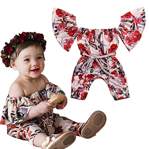 Infant Baby Girl Clothes Floral Jumpsuit Romper Flare Sleeve Bodysuit + Waistband Outfits 0-18Months (red, 18-24 Months)