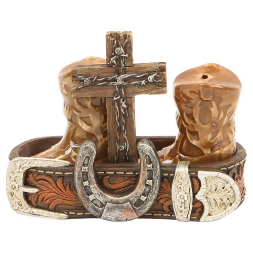 Salt & Pepper Set, Western Boot Belt Horseshoe Cross Decoration, 5.25-inch