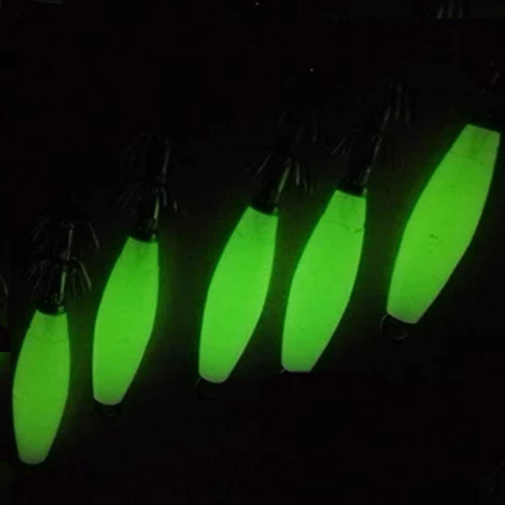 LIOOBO 4Pcs Cebos de Anzuelo de Calamar de Pesca Luminosa Noche Se/ñuelos de Pesca Se/ñuelo de Pesca Cebo de Anzuelo
