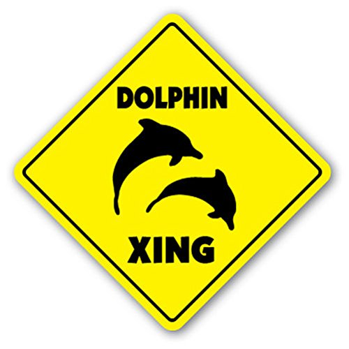 """Dolphin Crossing Sign New Xing Miami Collector Gift Flipper Porpoise Sea World Sticker 8""""x8"""""""