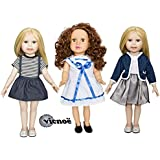 vicnoë 3 Four Season Outfits + 2 Pairs of Shoes for 18 Inch American Girl Doll Clothes Accessories Set