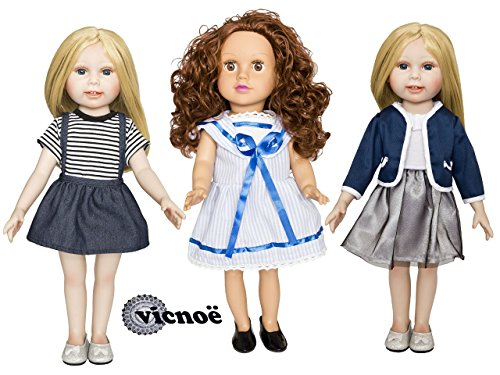 vicnoë 3 Four Season Outfits + 2 Pairs of Shoes for 18 Inch American Girl Doll Clothes Accessories Set -