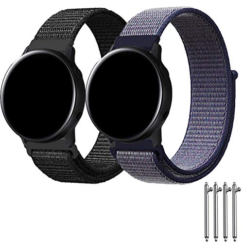 Lexyplus Sport Loop Band Velcro Compatible with Samsung Gear/Asus/LG Smart Watch/Huawei Samsung Watch 46mm, 22mm Quick Release Nylon Lightweight Breathable Strap.(Black/Midnight Blue 22mm) ()