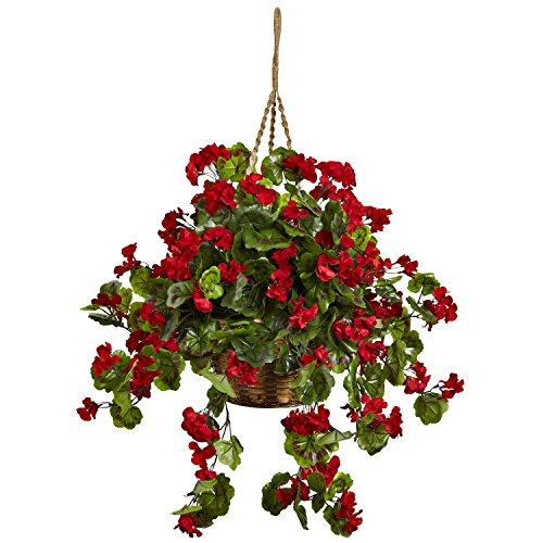 Geranium Planter - New Geranium Hanging Basket UV Resistant (Indoor/Outdoor) Red Silk Plant
