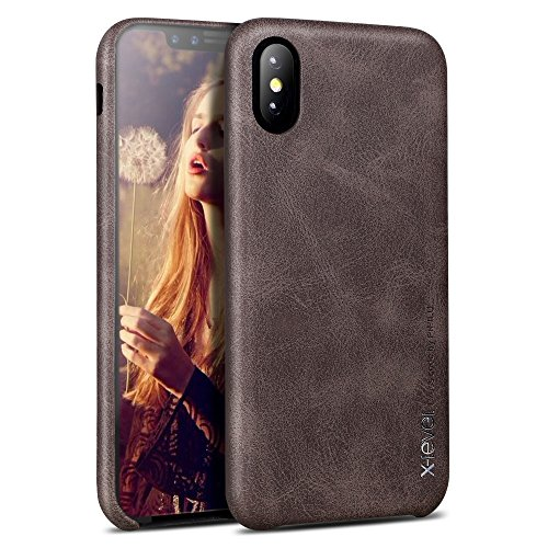 Price comparison product image iPhone X case, X-Level [Vintage Series] Premium PU Leather Slim Fit Ultra light Soft Touch Protective Mobile Cell Phone Case Back Cover for Apple iPhone X - Coffee