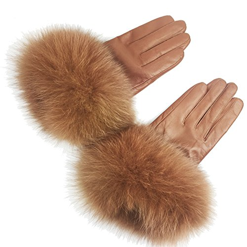 Sandy Brown Leather (Sandy Ting Winter Women's Lambskin Leather Gloves with Fox Fur Trim Multicolor (Coffee, X-Large))