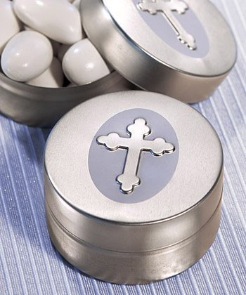 First Communion Candy - Silver Cross Design Mint Tin, 50